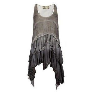 All Saints Layered Sleeveless Silk Tunic Blouse